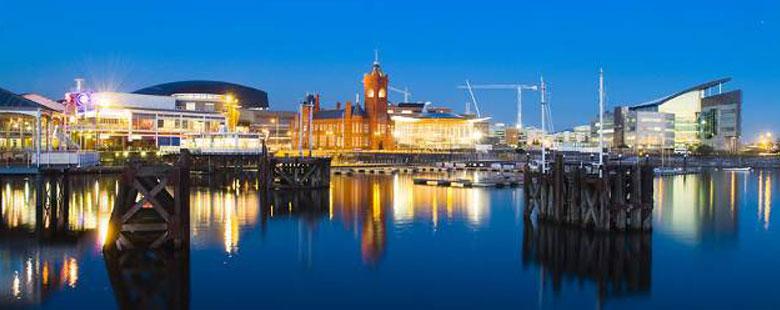 Cardiff city skyline at night