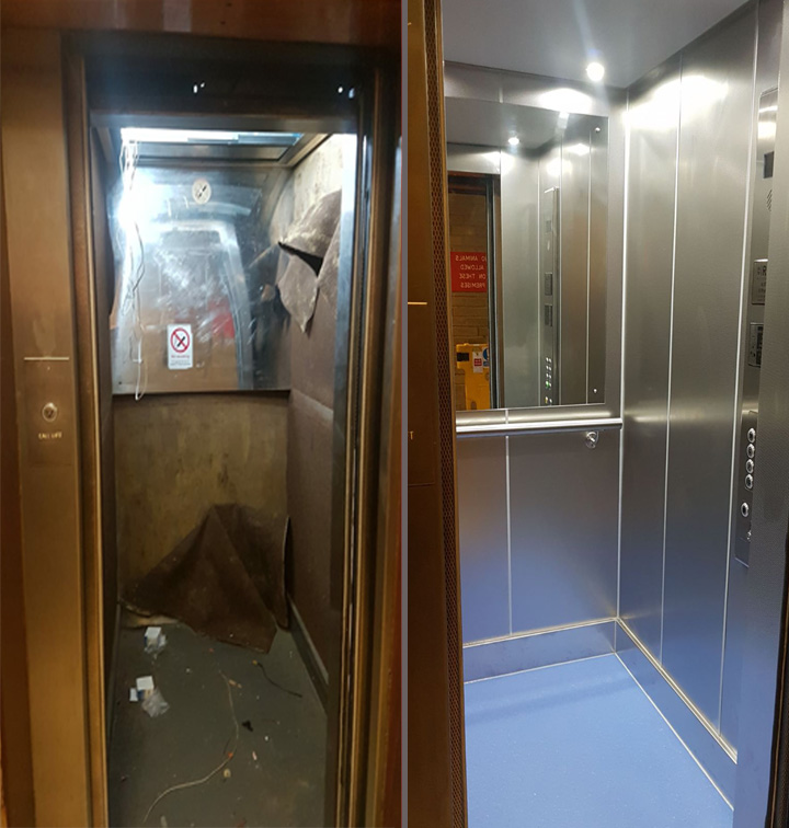inside before and after lift refurbishment