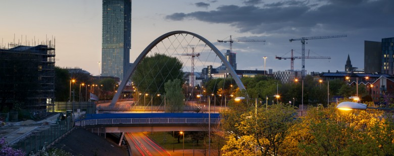 photo of greater Manchester bridge and tower