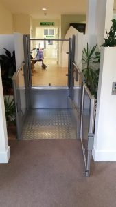step lift installed in hospital building