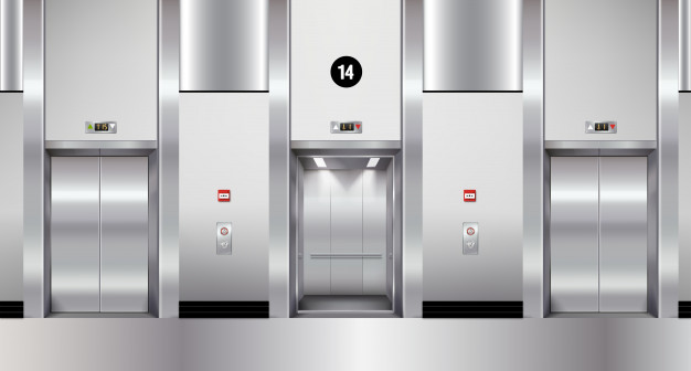 stainless steel elevators vector mockup