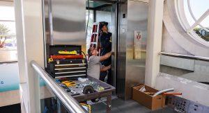 lift maintenance at work