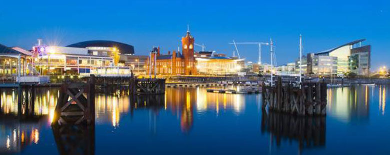 Cardiff Bay, Night, Cardiff, Wales, UK skyline at night