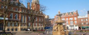 Leicester town hall, water fountain