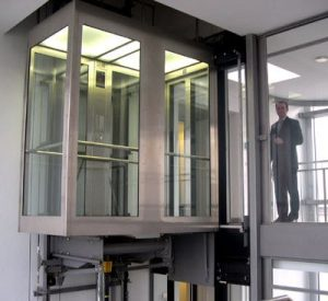 professional waiting for glass lift