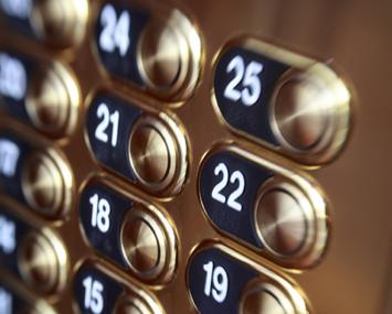 lift elevator button close up