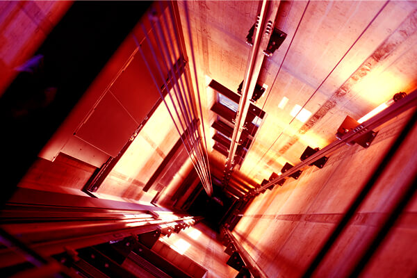 looking down a lift shaft