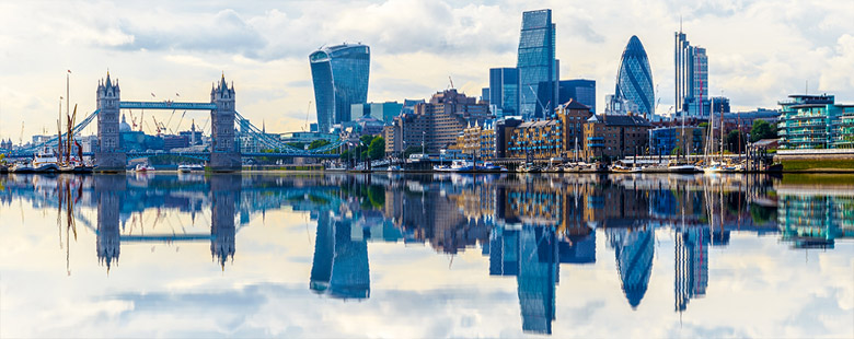 A cityscape with a reflection of London