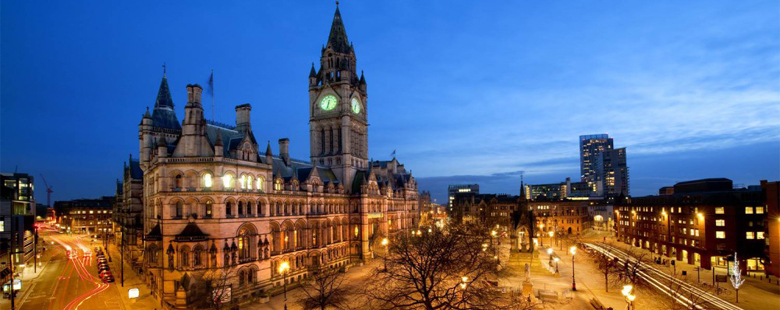 Manchester city centre at night