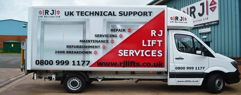 A technical support lift services van