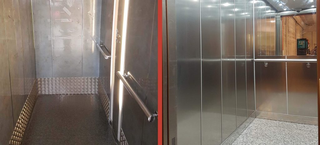 Lift refurbishment Before & After