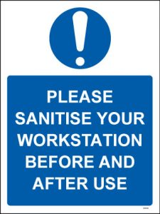 Sanitise workstation Covid19 sign - RJ Lifts