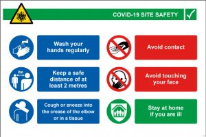 Covid-19 Site Safety Sign Landscape - RJ Lifts