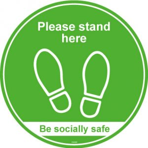 Please stand here anti slip lift safety floor graphic - RJ Lifts