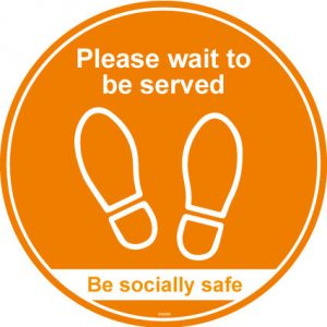 Please wait to be served anti slip floor graphic - RJ LIfts