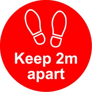 Lift safety - Keep 2metres apart anti slip floor graphic - RJ Lifts