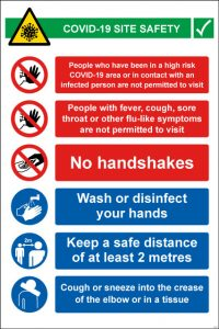 Covid 19 site safety sign - RJ Lifts