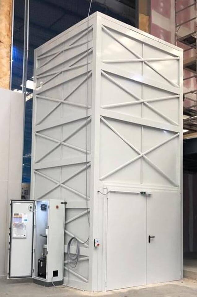 Goods lift installed in factory by RJ Lifts